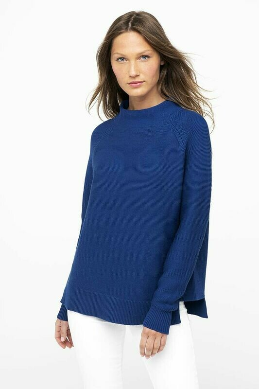 Kinross Cotton Garter Stitch Funnel Neck Sweater
