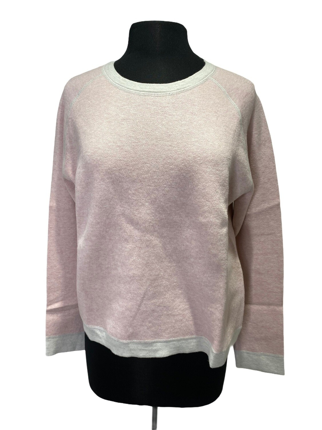 Kinross Cotton Cashmere Reversible Sweater Pink/Sand