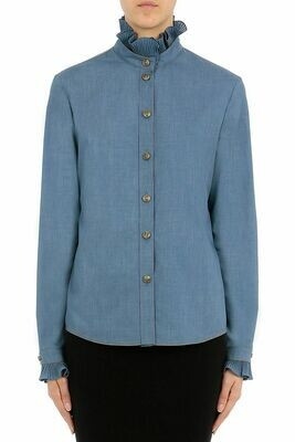 SHIRT WITH FRILLS AND GOLD BUTTONS