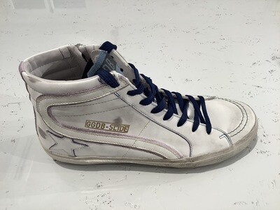 SLIDE LEATHER UPPER AND STAR CONTRAST STITCHING