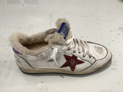 BALL STAR LEATHER UPPER SHEARLING TONGUE GLITTER STAR