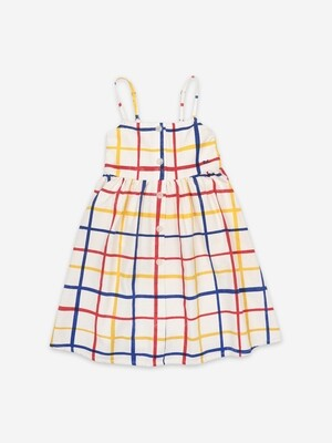 MULTICOLOR CHECKERED WOVEN DRESS