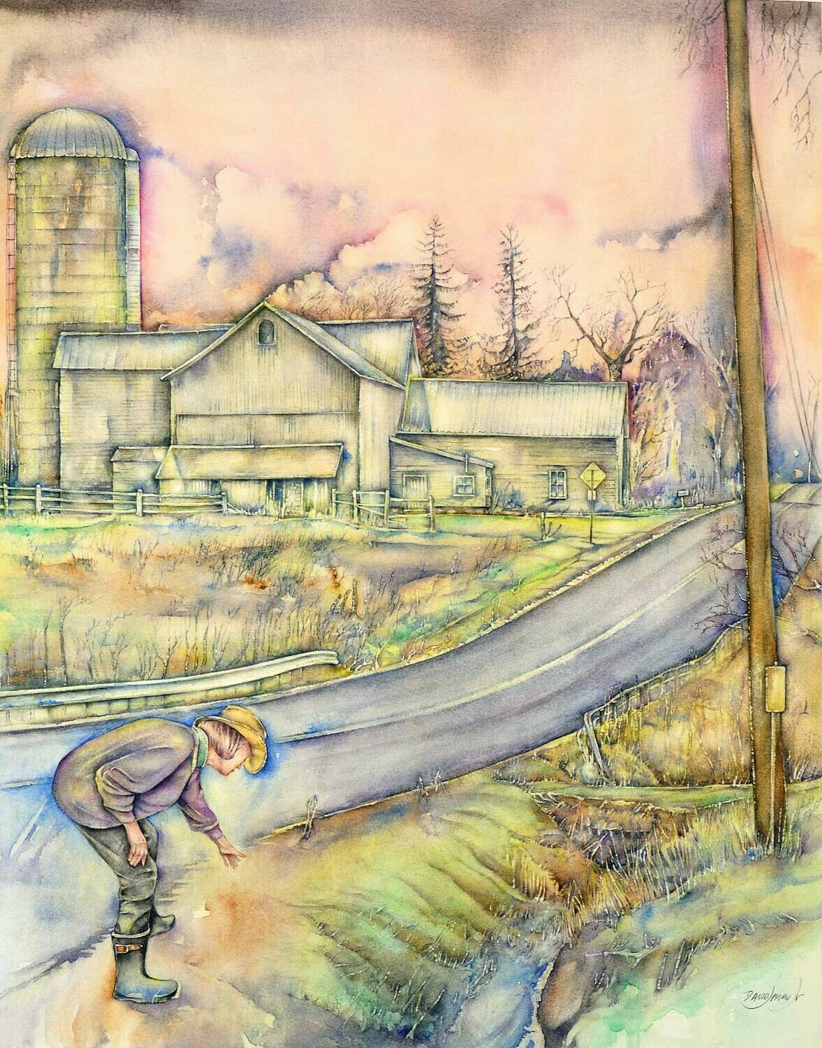 """Watercolor Art Giclee' Prints   """"Rie and Barn"""""""