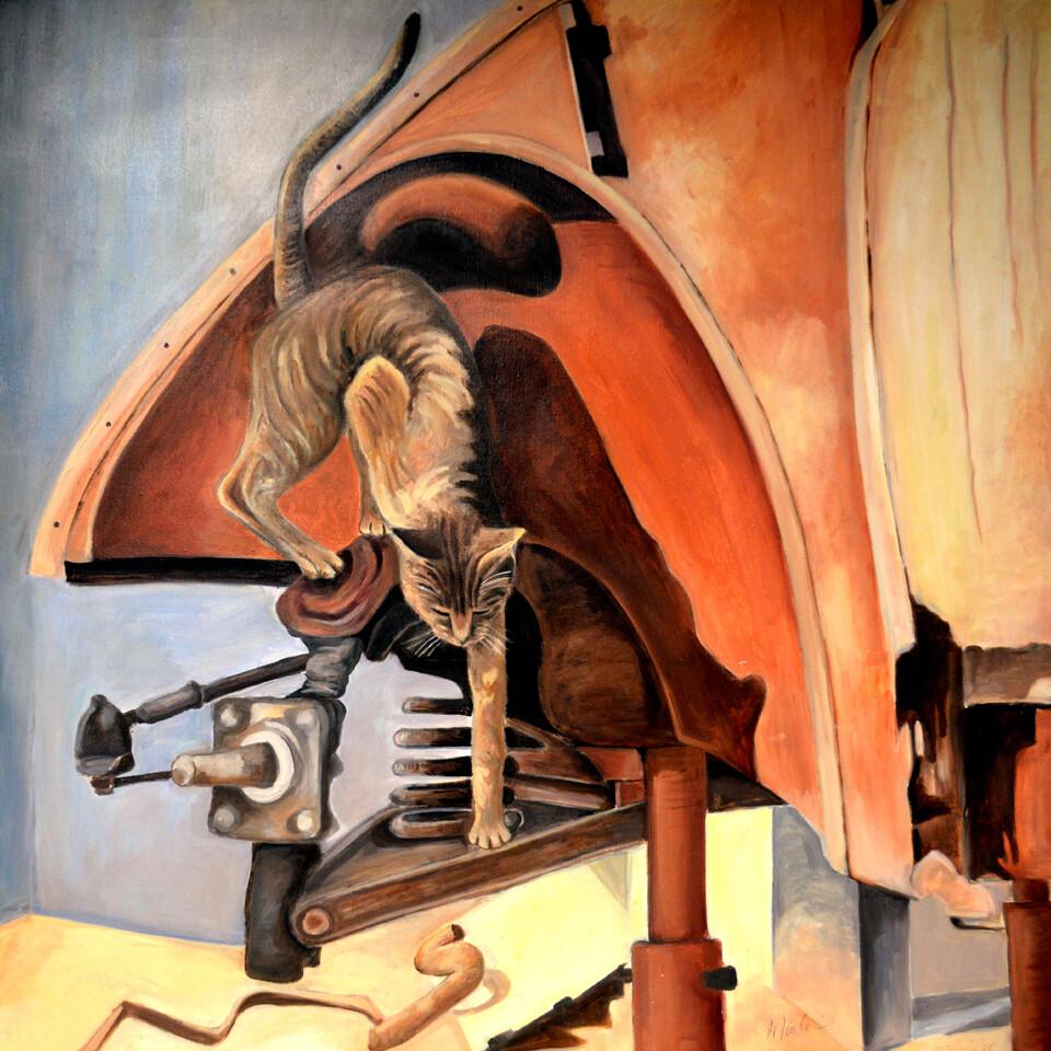 """Home Decor Giclee' Prints   """"Cat & Junkyard"""""""