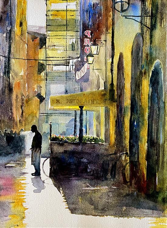 "Art Work Prints   ""Last Smoke Before the Evening Rush"""