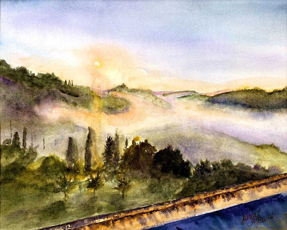 "Art Giclee Prints | ""Misty Tuscan Morning"""