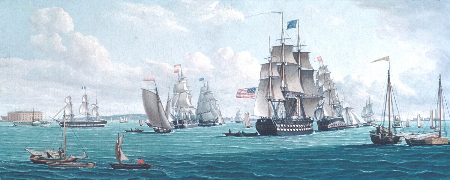 Thomas Thompson   The U. S. Ship Franklin, with a View of the Bay of New York 1825