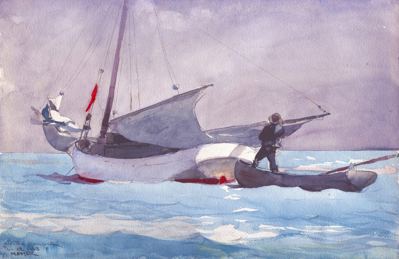 Winslow Homer | Stowing sail 1903