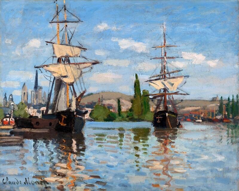 Claude Monet | Ships Riding on the Seine at Rouen 1872