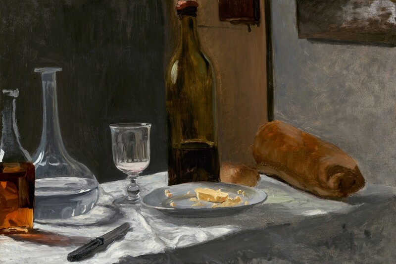 Claude Monet | Still life with bottle, carafe, bread, and wine 1862