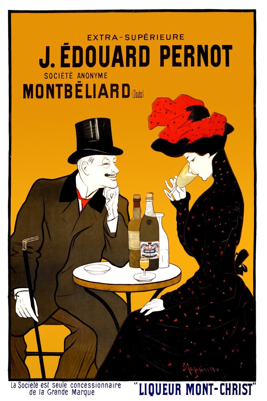 Leonetto Cappiello | Man and woman at a cafe 1900