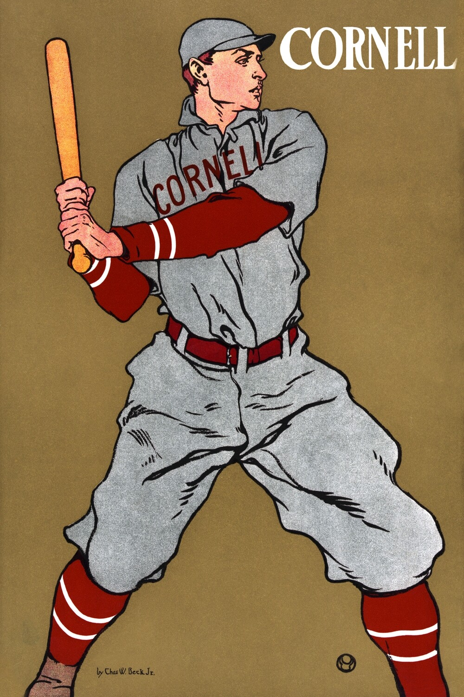 Edward Penfield   Vintage drawing of a baseball player holding a bat 1925