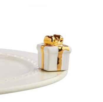 Nora Fleming Golden Wishes White Gift Mini