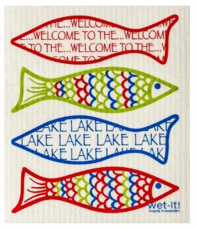 Wet-It Welcome to the Lake Swedish Dishcloth