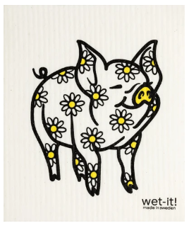 Wet-It Pig Yellow Daisy Swedish Dishcloth