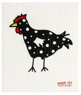 Wet-It Chicken Black Dot Swedish Dishcloth