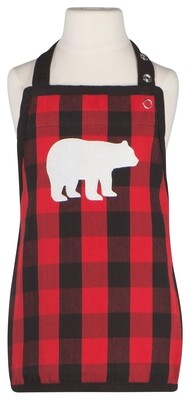 Now Designs Kids Apron - Buffalo Check with Bear