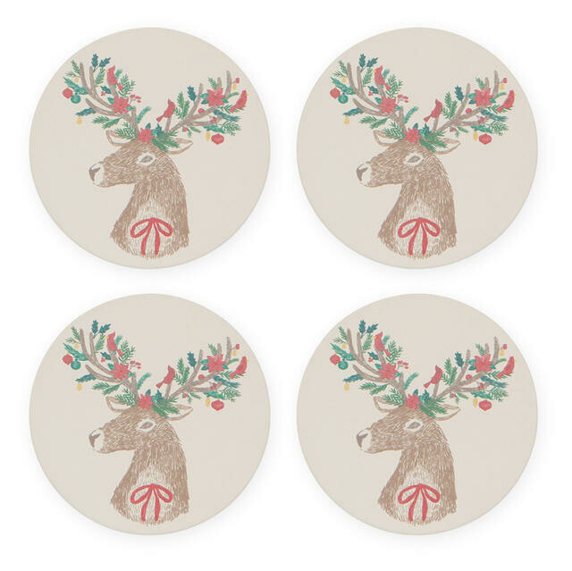 Now Designs Soak-Up Coasters - Dasher Deer