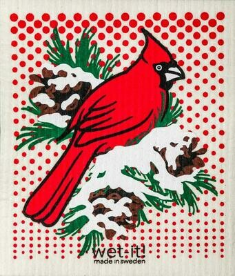 Wet-It Winter Cardinal Swedish Dishcloth