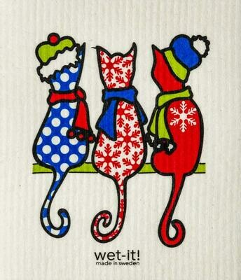 Wet-It Winter Cats Swedish Dishcloth