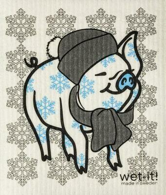Wet-It Winter Pig Swedish Dishcloth