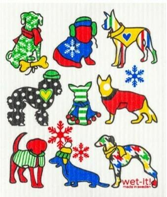 Wet-It Winter Dogs Swedish Dishcloth