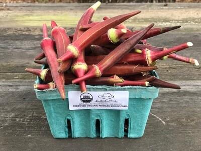 Organic Mudham Rouge Okra 1 lb. CERTIFIED ORGANIC BLUE SKY FARMS