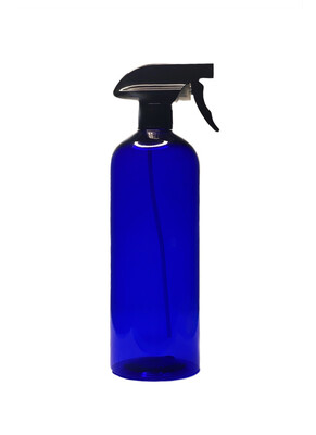 1 Liter, Pet Plastic Bottle With Trigger Spray, Cobalt Blue