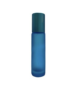 10ml, Glass Frosted Bottle With Plastic Roller, Blue