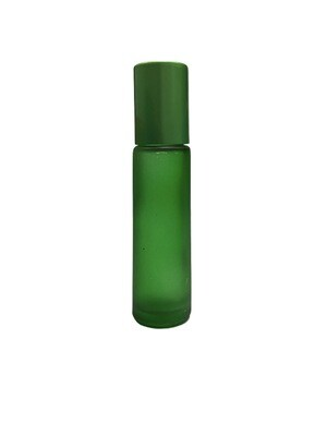 10ml, Glass Frosted Bottle With Plastic Roller , Green
