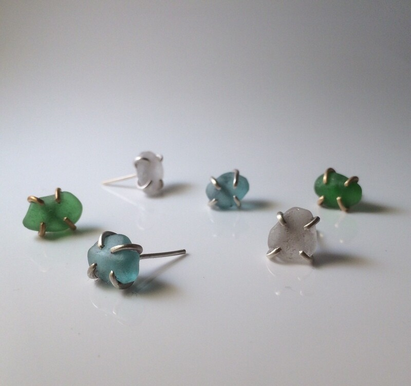 Beach Glass Gem Earrings