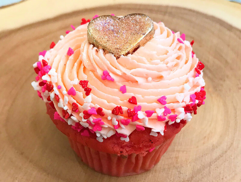 PRE-ORDER Valentine's Day Strawberry-Champagne Cupcake for 2/13 or 2/14