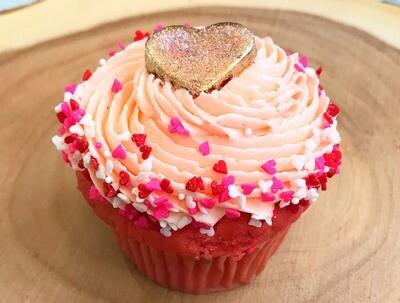 Valentine's Day Strawberry-Champagne Cupcake