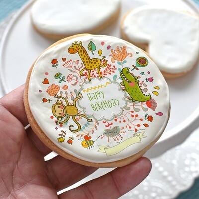 NEW! Animals Happy Birthday Cookie