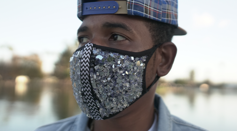 Handcrafted, Crystal Studded 'SUB-ZERO' Mask