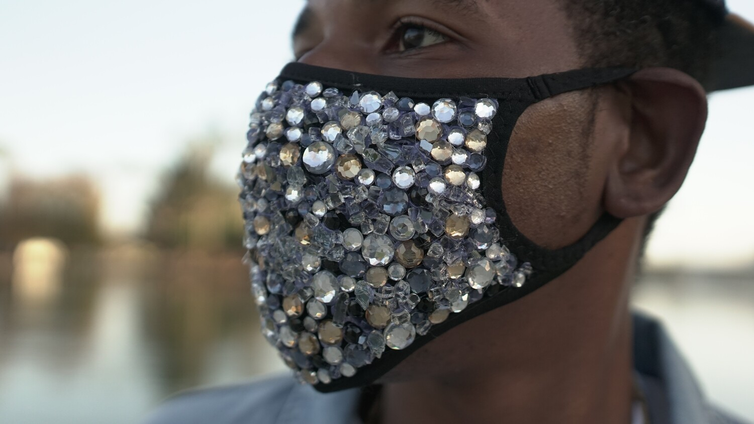 "Handcrafted, Crystal Studded ""FREEZE' Mask"