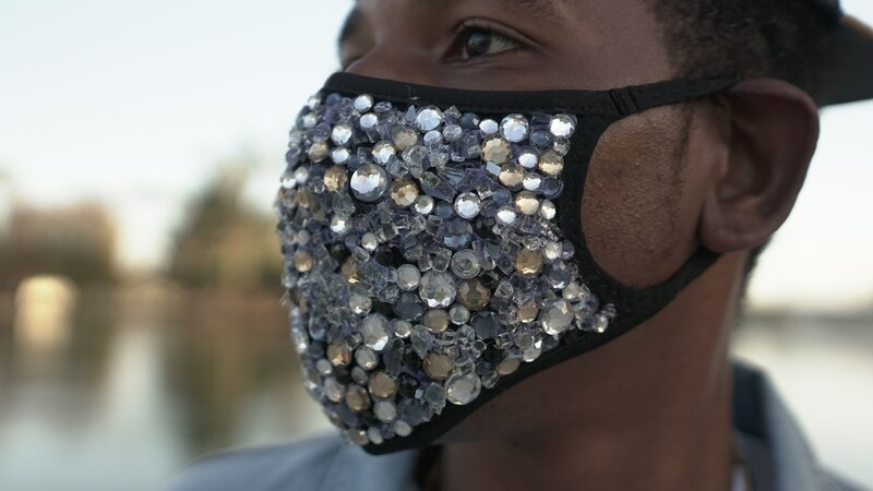 """Handcrafted, Crystal Studded """"FREEZE' Mask"""