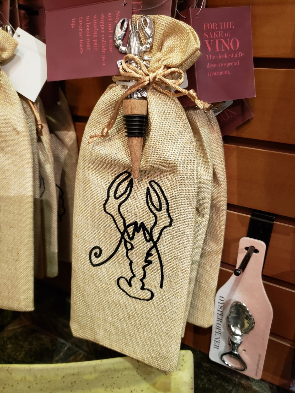 Crawfish Wine Bag and Stopper