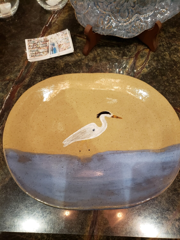 CAP Blue Heron oval plate