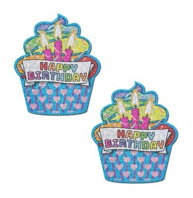 Turquoise & Multi-Color Glitter Happy Birthday Nipple Pasties