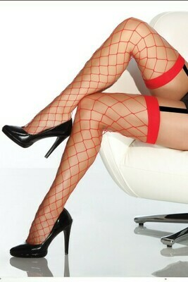 Coquette Fence Net Thigh High - Red