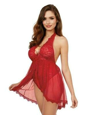 Halter Plunge Front Teddy With Attached Skirt