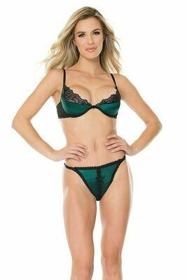 Lace & Satin Bra & Panty Set - Green/Black