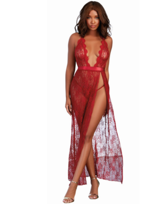 Garnet Lace Halter Long Night Gown