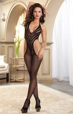 Chevron Fishnet Thong Back Bodystocking