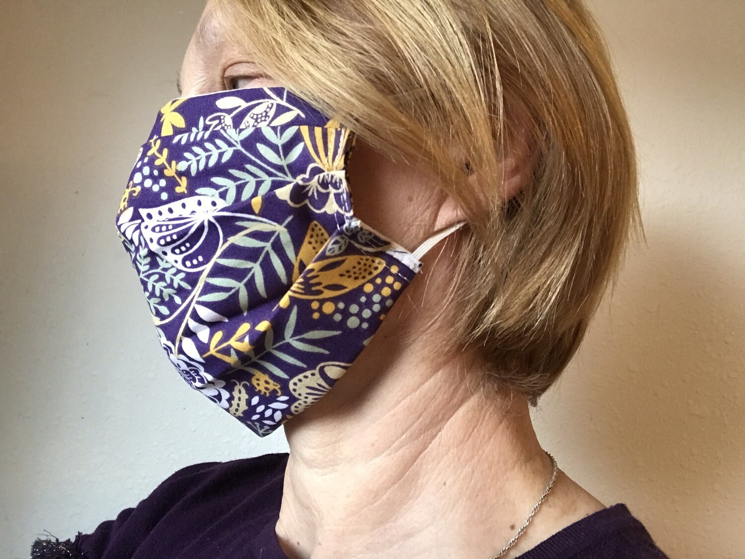 Face  mask ear-loops 100% cotton purple floral