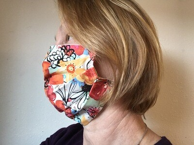 Face  mask ear-loops 100% cotton red floral