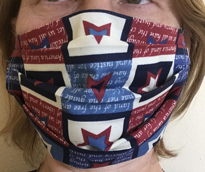 Face  mask ear-loops 100% cotton US patriotic