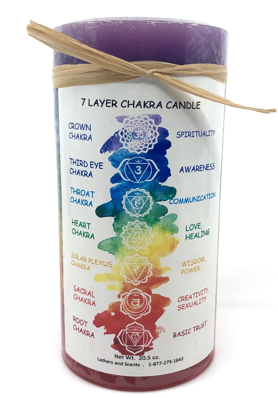 Seven Layer Chakra Candle 3x6