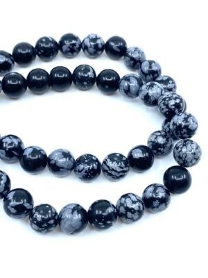 8mm Snowflake Obsidian Bracelet
